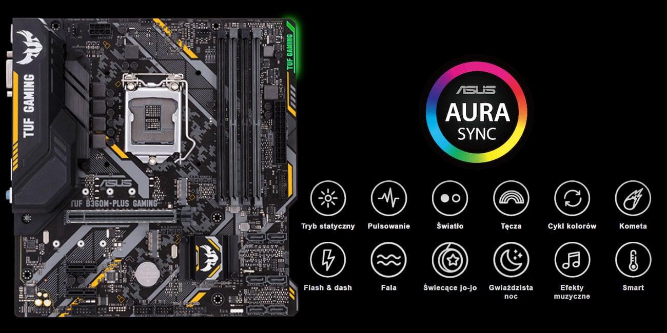ASUS TUF B360M-Plus Gaming podświetlenie ASUS Aura