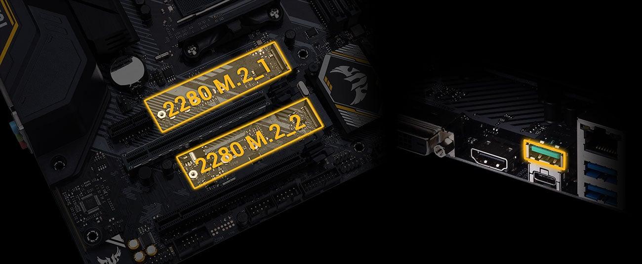 ASUS TUF B450M-PRO GAMING Złącza M.2, porty USB