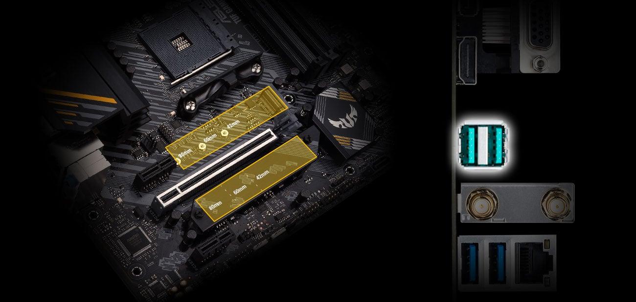 ASUS TUF GAMING B550M-E WIFI - Złącza M.2, USB