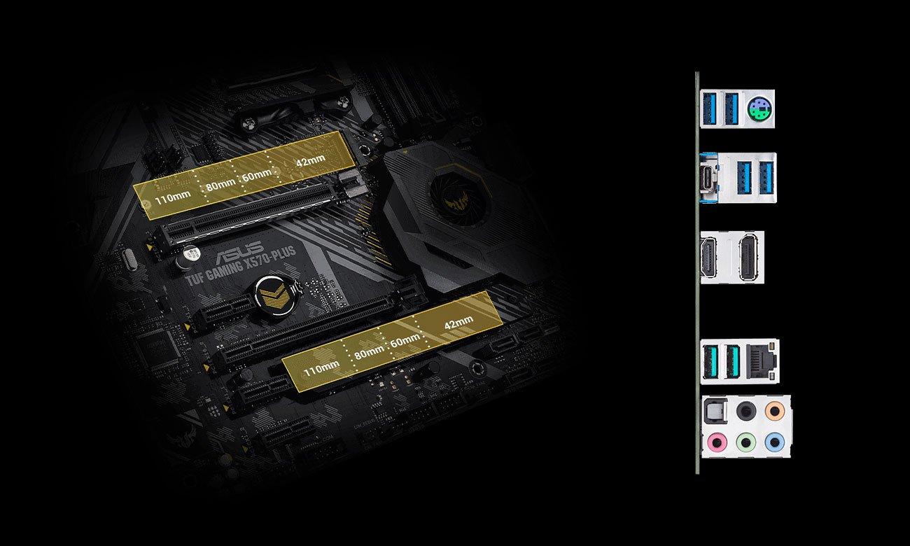ASUS TUF GAMING X570-PLUS - Złącza M.2, USB
