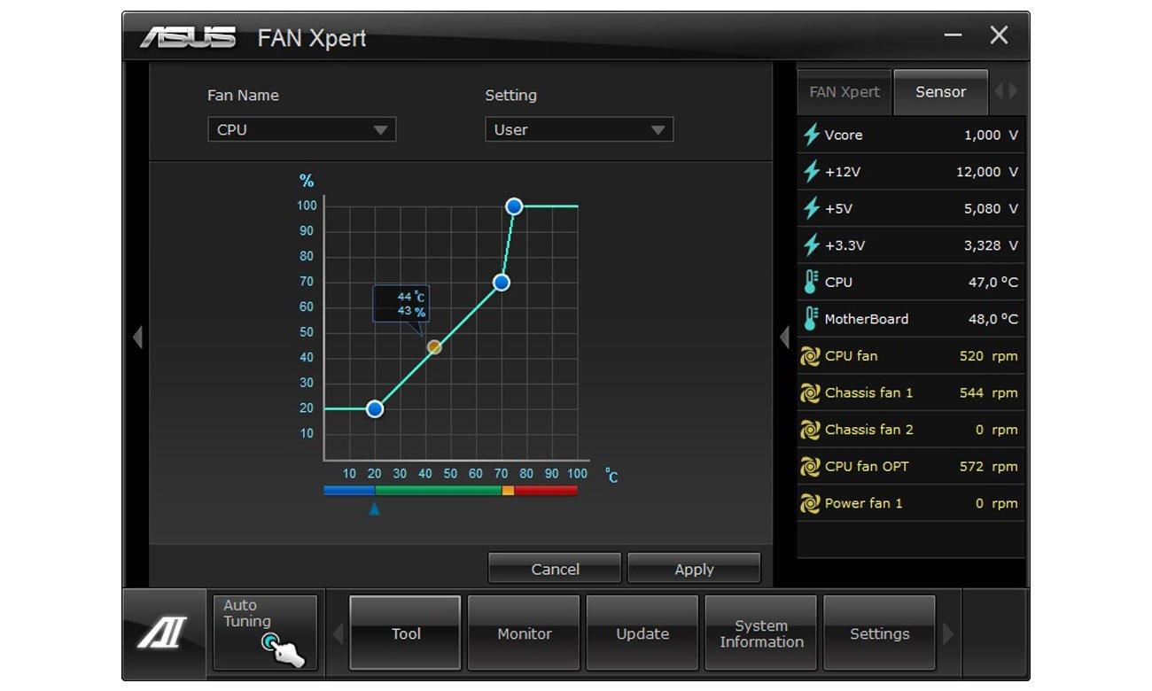 ASUS TUF H310-Plus Gaming Elastyczne sterowanie chłodzeniem Fan Xpert 2+