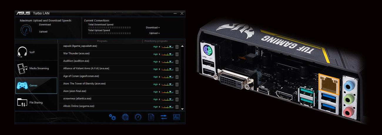 ASUS TUF Z370-PLUS GAMING II Łączność LAN, zarządzanie siecią