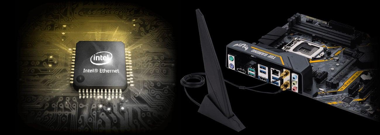 ASUS TUF Z390-PLUS GAMING WI-FI Sieć LAN oraz Wi-Fi