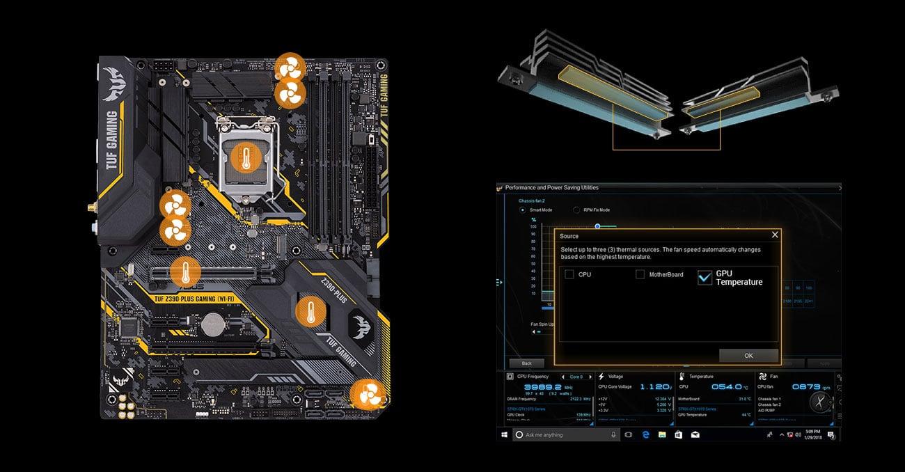 ASUS TUF Z390-PLUS GAMING WI-FI Chłodzenie z Fan Xpert 4
