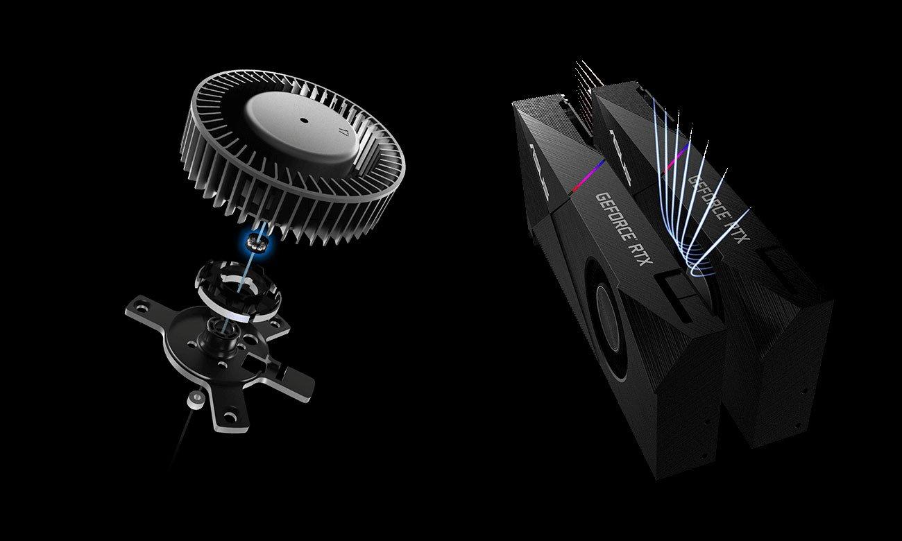 ASUS GeForce RTX 2070 Turbo Wentylatory, podświetlenie