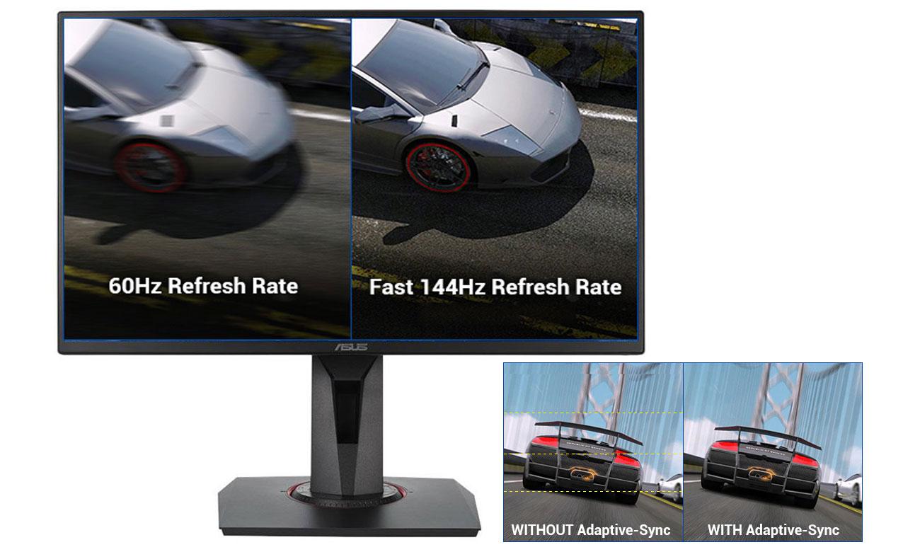 ASUS VG258Q Częstotliwość odświeżania na poziomie 144Hz, Technologia Adaptive-Sync