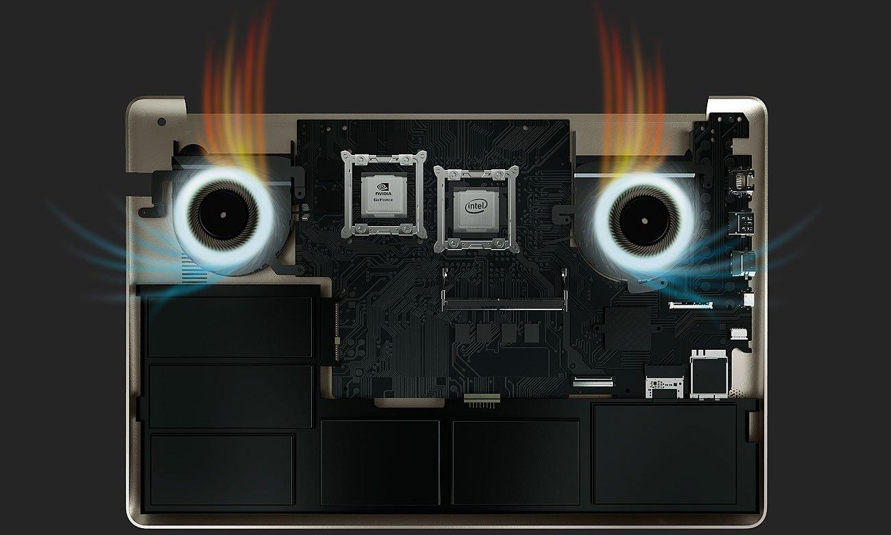 ASUS VivoBook Pro 15 N580VD Inteligentne podwójne wiatraki, Polepszona wydajność chłodzenia
