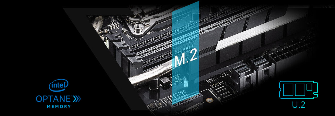 ASUS WS X299 SAGE Złącza M.2 U.2 Intel Optane
