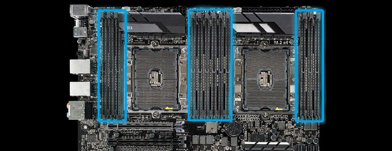 ASUS WS C621E SAGE Obsługa do 12 modułów pamięci DDR4
