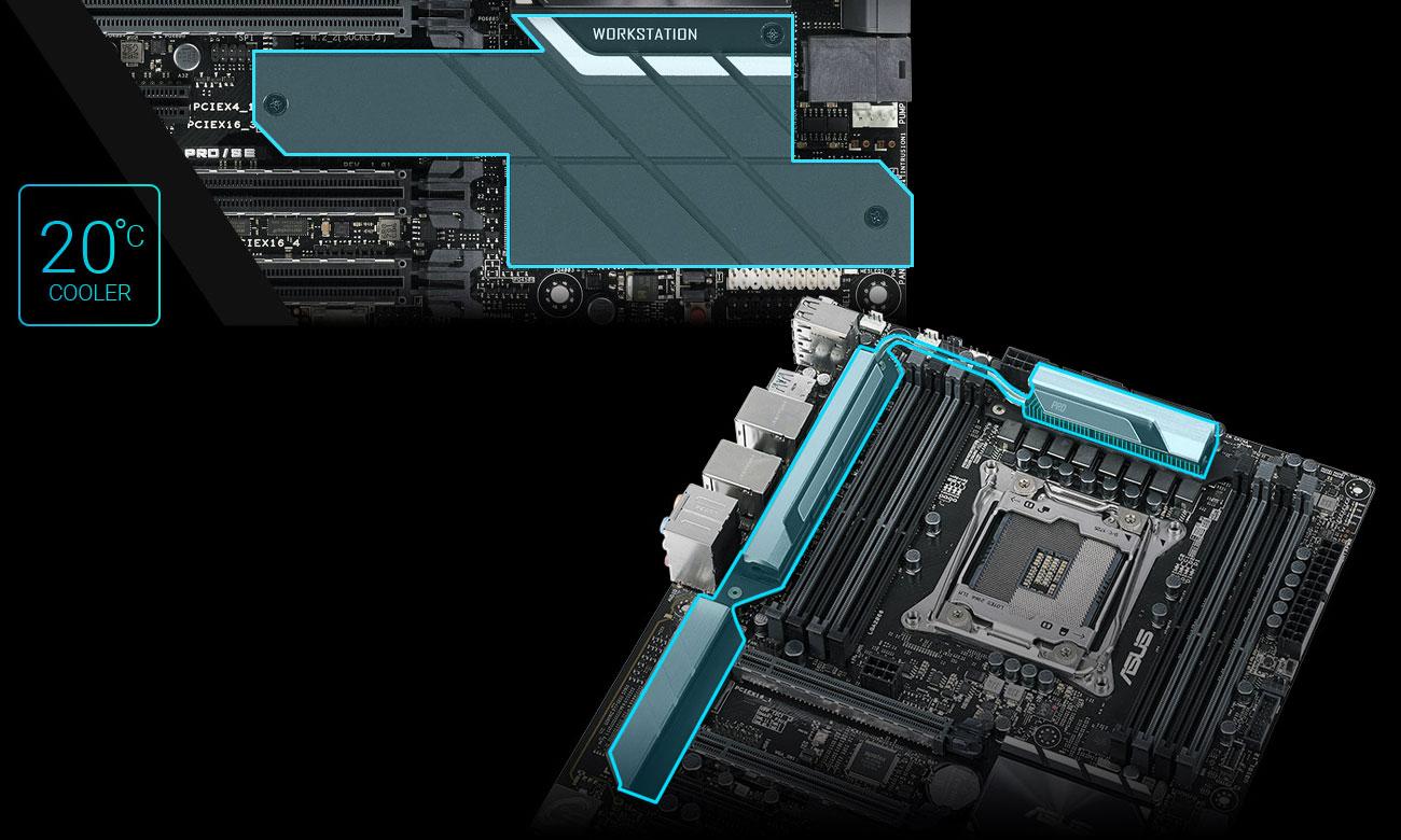 ASUS WS X299 PRO/SE Ultrawydajny radiator VRM, Dwa zintegrowane radiatory dysków M.2