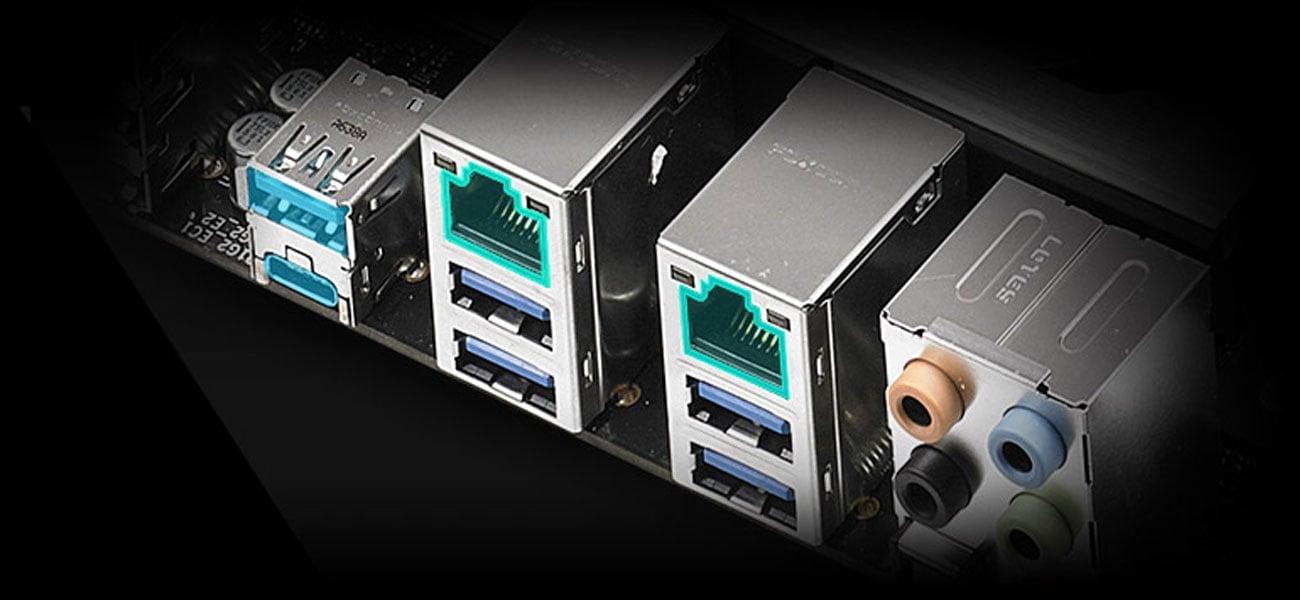 ASUS WS X299 PRO Dwie zintegrowane karty sieciowe