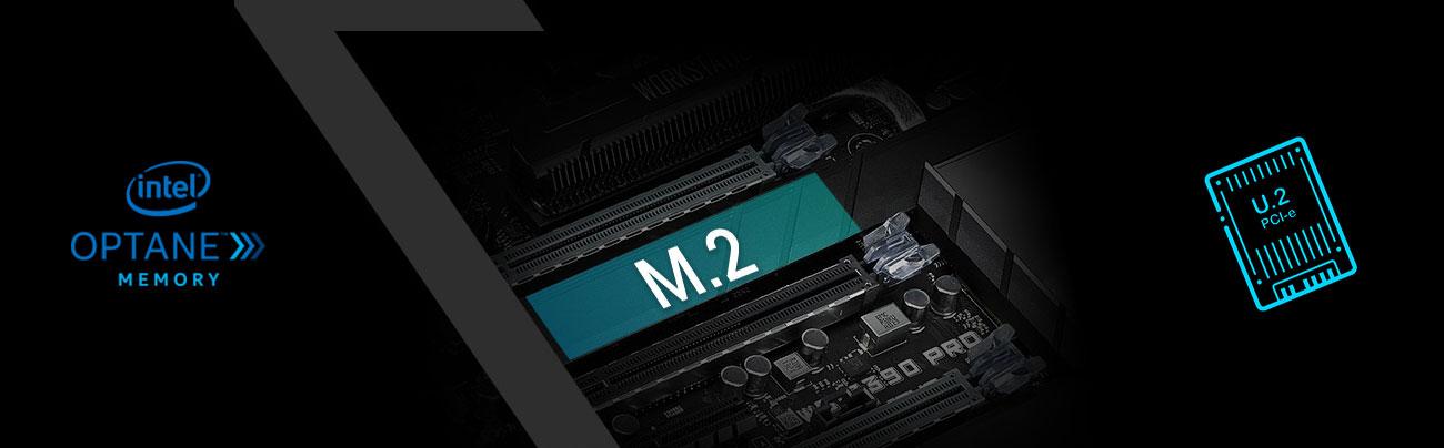 ASUS WS Z390 PRO Złącza M.2, U.2, obsługa Intel Optane