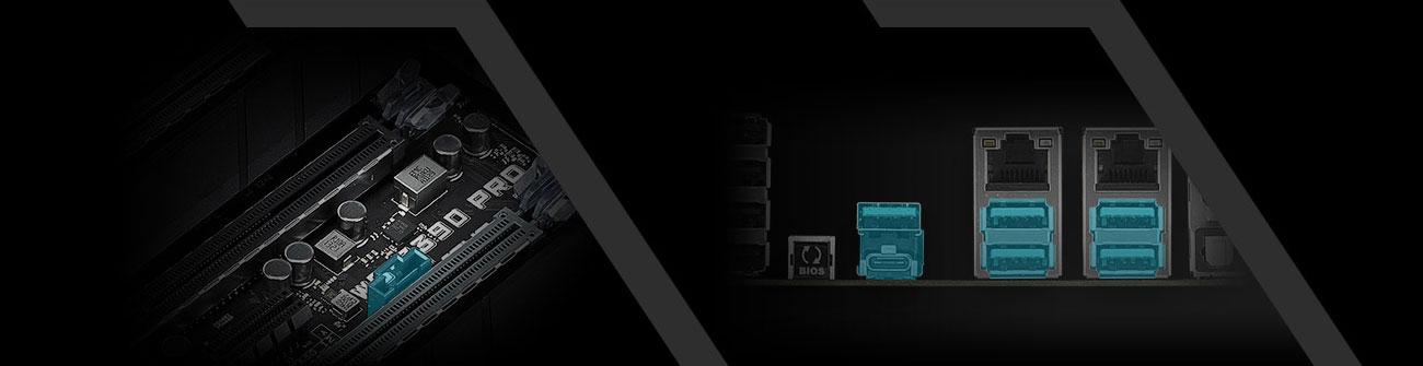 ASUS WS Z390 PRO Złącza USB, USB-C, ThunderboltEX 3