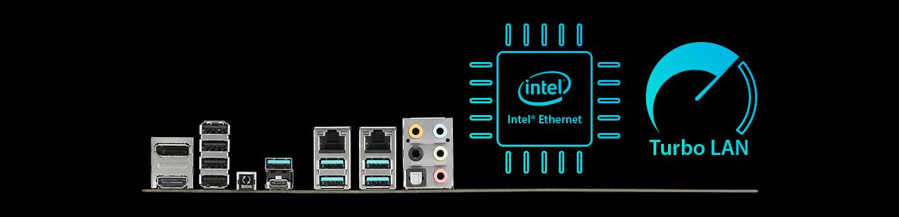 ASUS WS Z390 PRO Dwa złącza Intel Ethernet, Turbo LAN