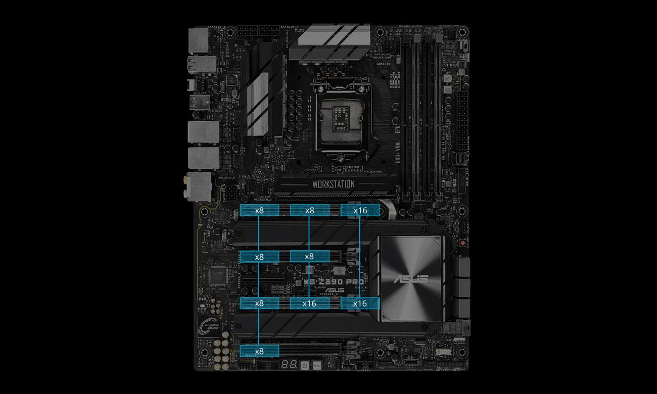 ASUS WS Z390 PRO Obsługa wielu kart graficznych SLI, CrossFire