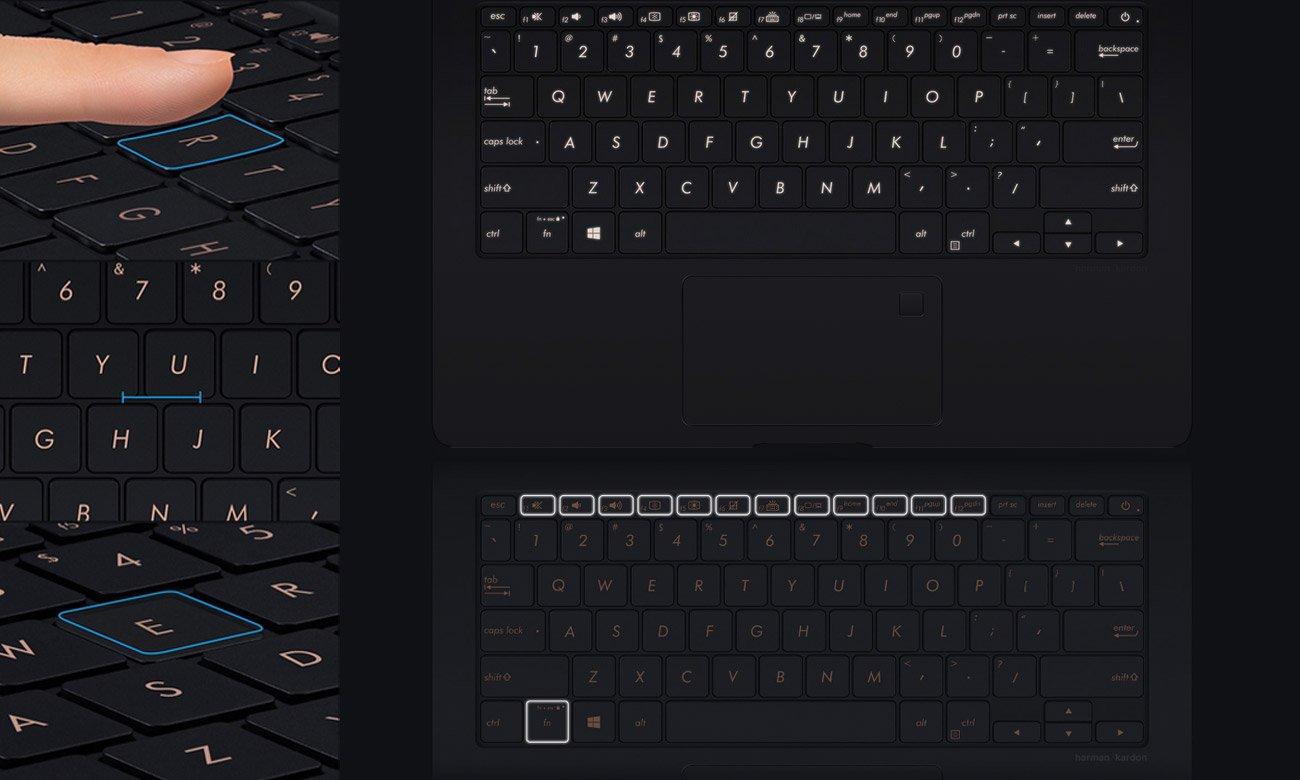 ASUS ZenBook S UX391UA Ergonomiczna, podświetlana klawiatura
