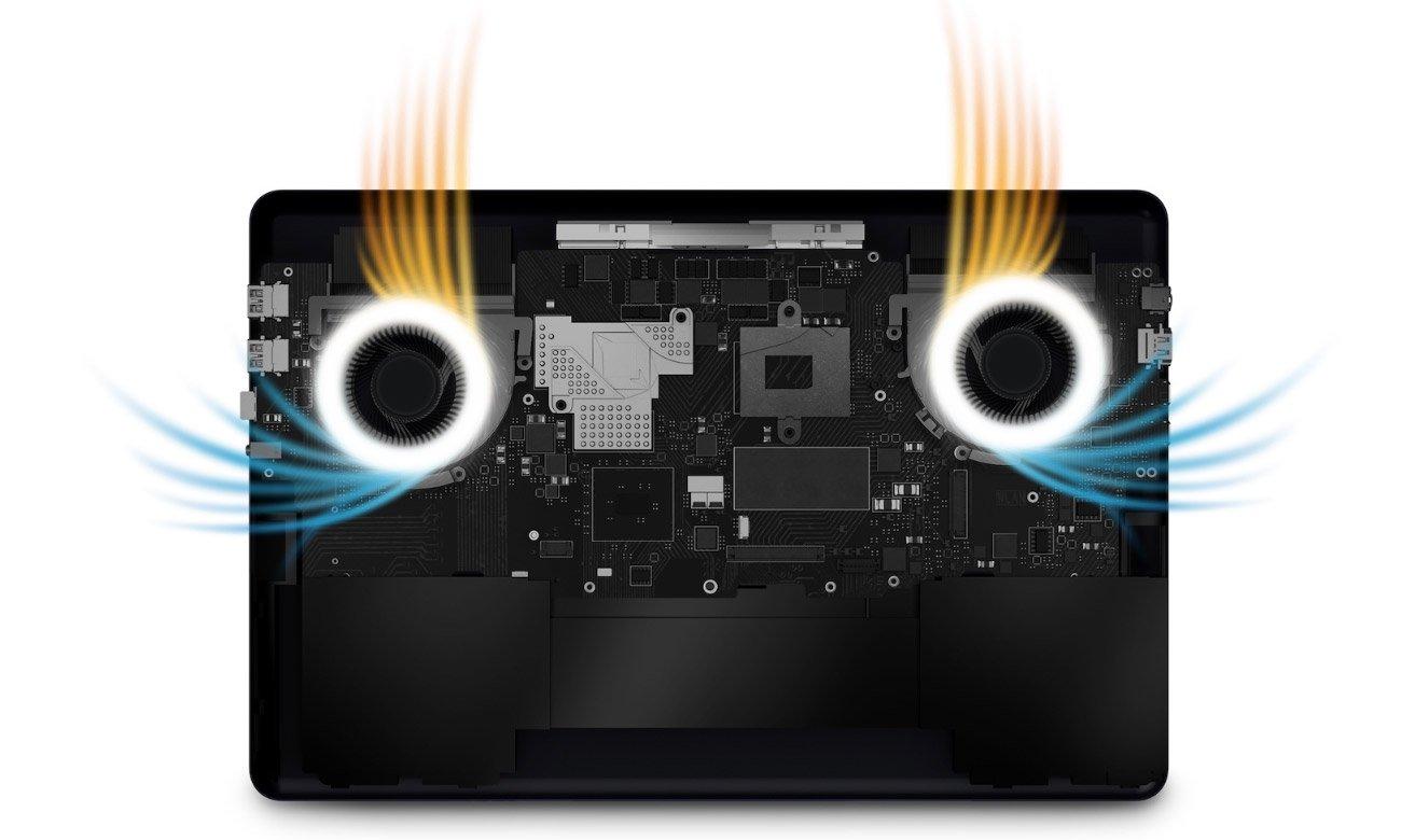 ASUS ZenBook Pro 15 UX580GE Najniższa jak dotąd temperatura pracy Dwa wentylatory i 3 rurki cieplne