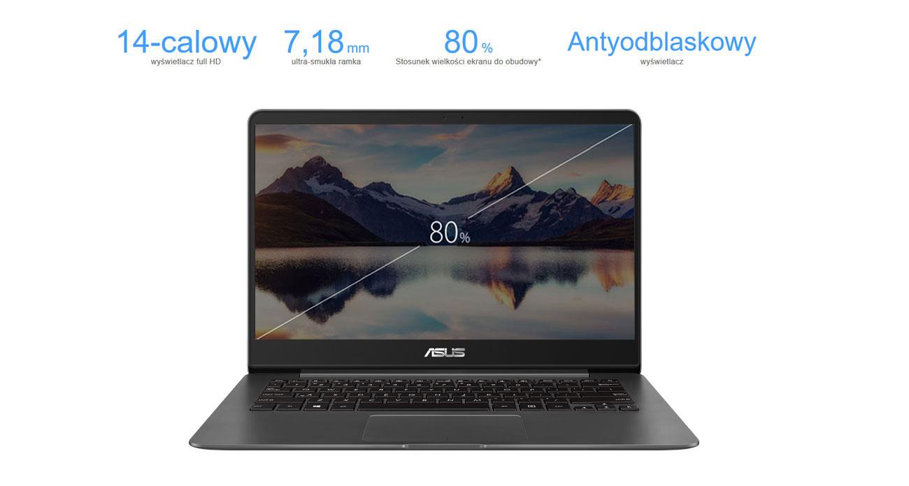 Laptop ASUS ZenBook UX430UQ matowa powłoka antyodblaskowa 13 calowy wyświetlacz full hd