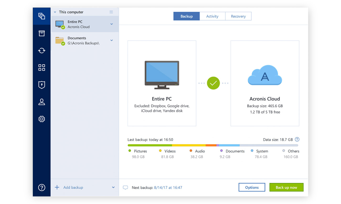 Acronis True Image 2019 Jeden prosty interfejs