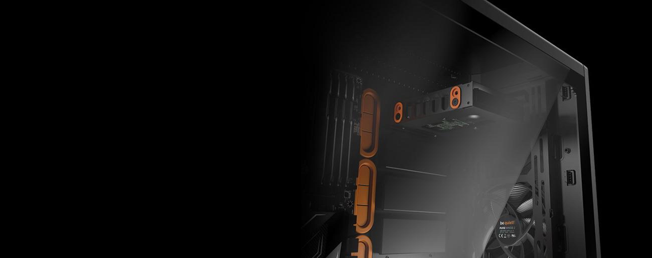 Silent Base 601 pomarańczowa z oknem duża przestrzeń