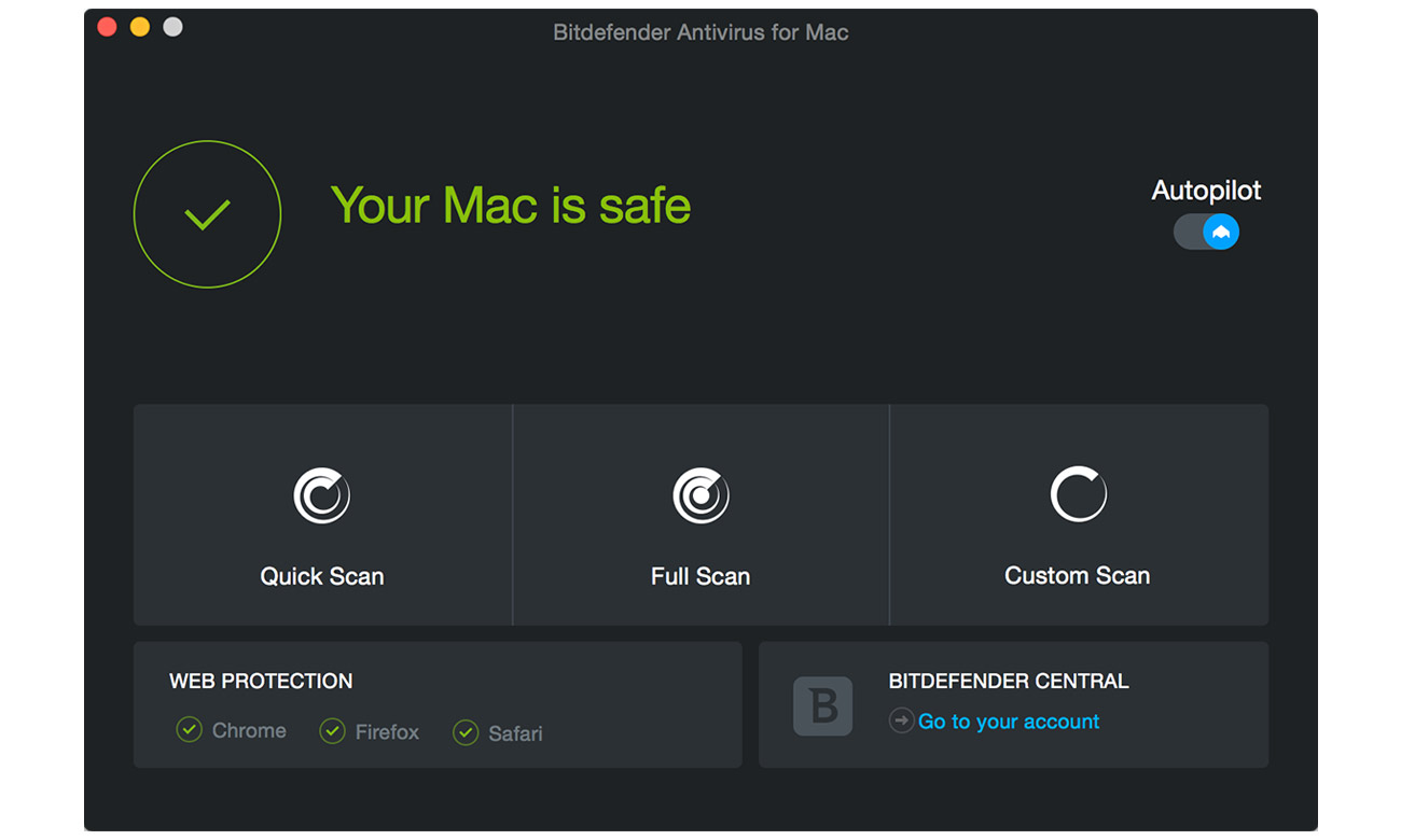 Bitdefender Antivirus for Mac 2019 Funkcje ochrony komputera Mac