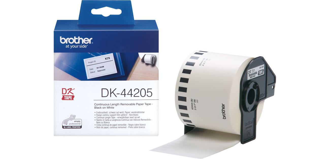 Taśma ciągła papierowa usuwalna 62mm Brother DK-44205