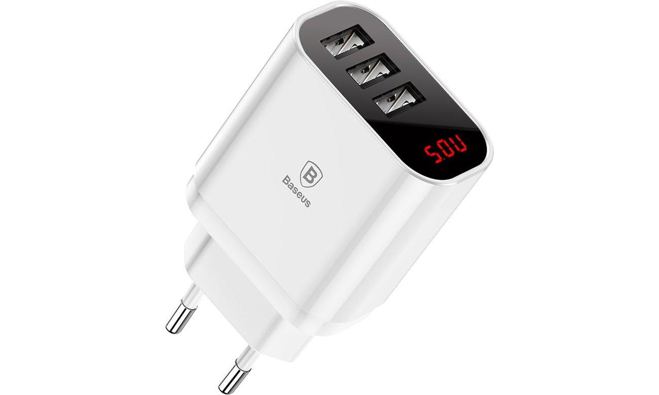 Baseus Ładowarka sieciowa 3x USB, 2.4A (biały)
