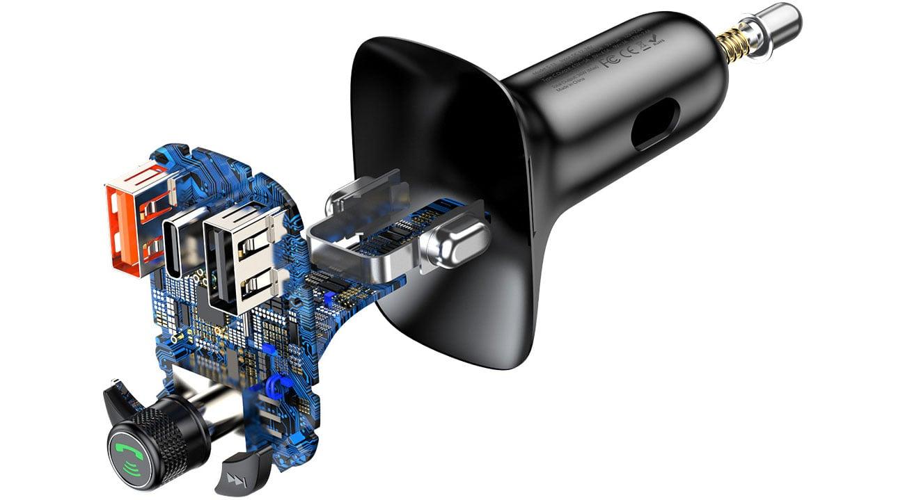 Zestaw głośnomówiący Baseus Transmiter FM (Bluetooth 5.0, Quick Charge 4.0) CCTM-B01