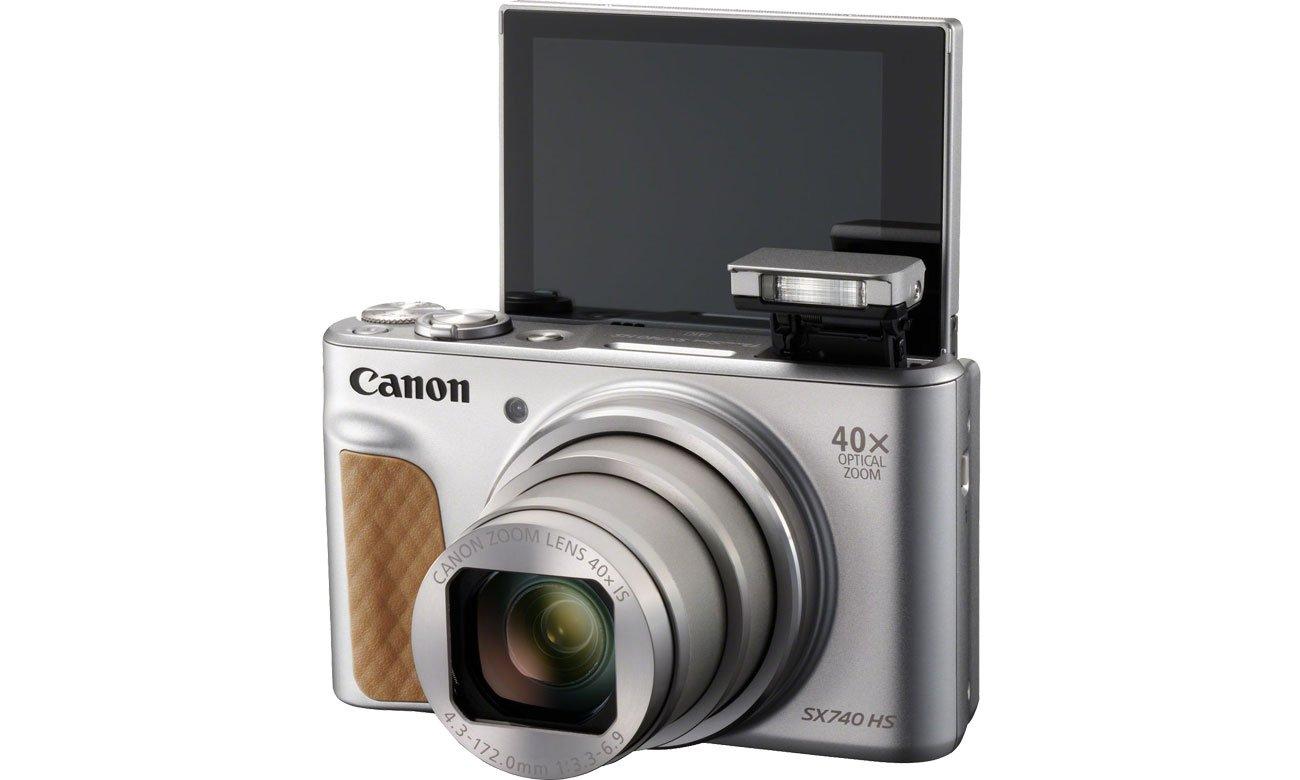 Canon PowerShot SX740 Odchylany ekran, lampa błyskowa
