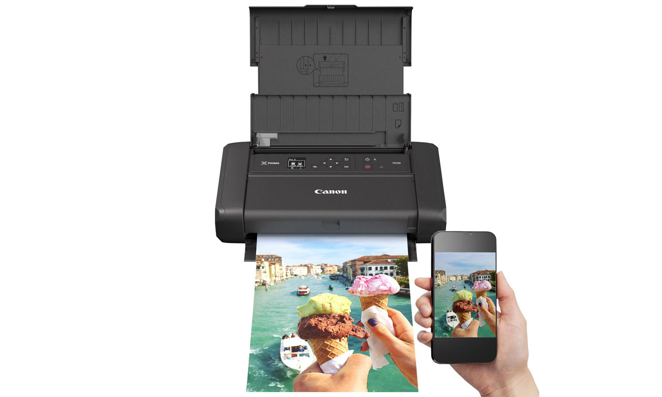 Wszechstronna drukarka mobilna Canon Pixma TR150 z akumulatorem