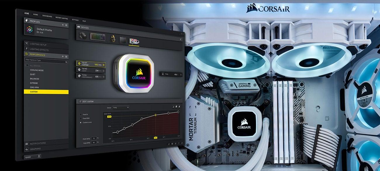 Corsair H100i RGB Platinum SE Podświetlenie rGB, iCUE