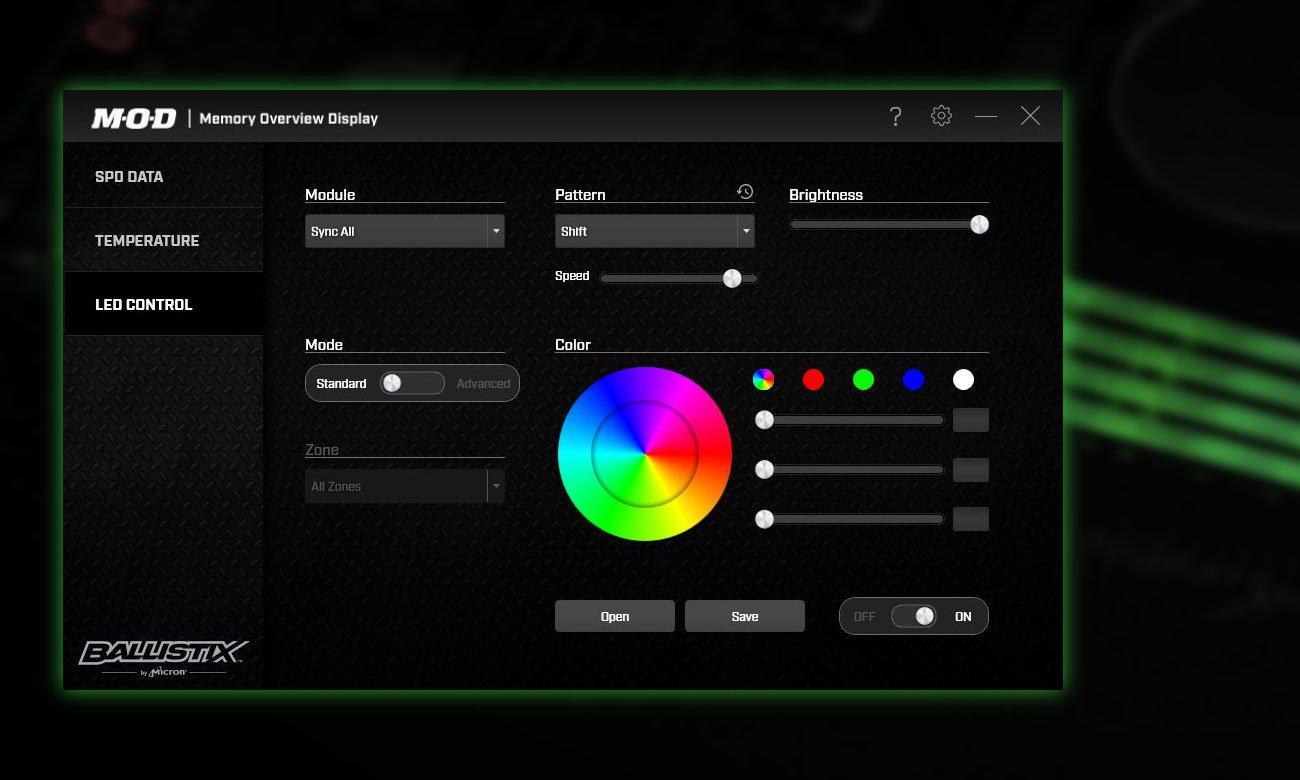 Crucial Ballistix Tactical Tracer RGB DDR4 Lepsze zarządzanie z narzędziem Ballistix M.O.D.