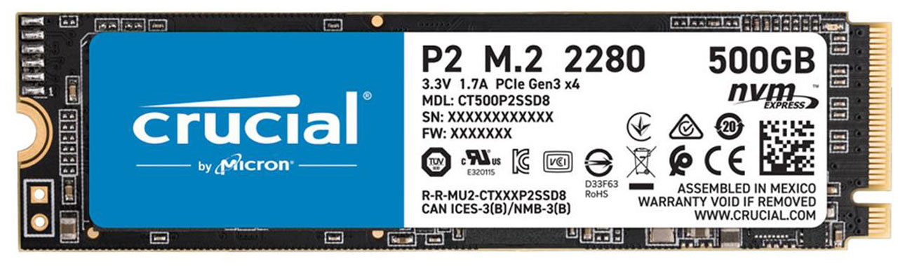Dysk SSD Crucial P2 500GB M.2 NVMe