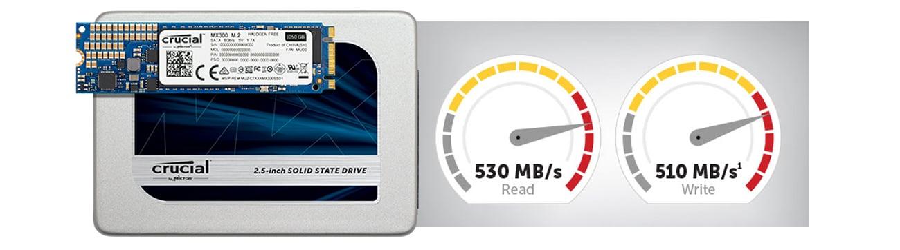 Dysk SSD Crucial 750GB 2,5'' MX300 - Prędkości zapisu i odczytu