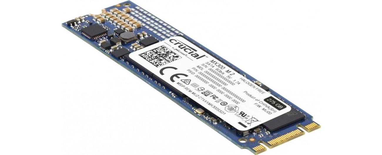 Dysk SSD M.2 Crucial 275GB MX300 widok z przodu