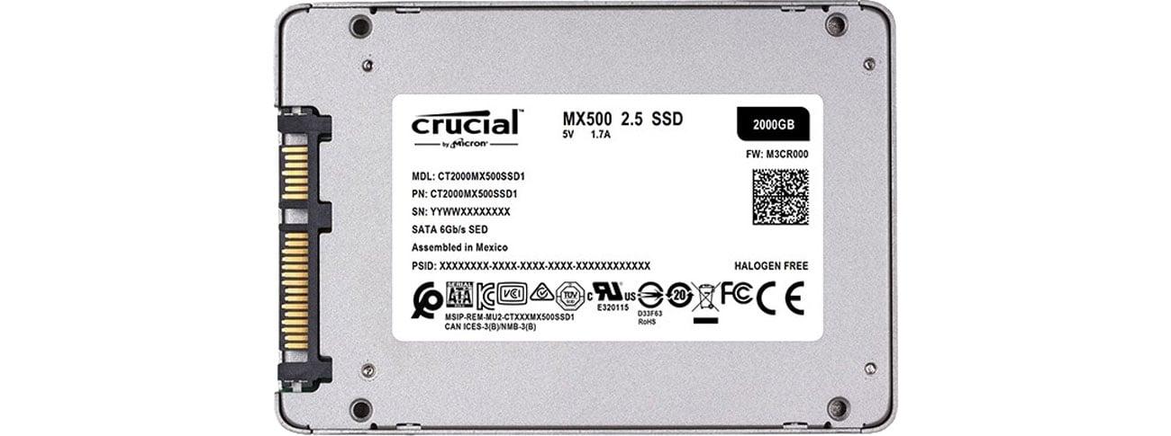 Dysk SSD 2TB 2,5'' SATA Crucial CT2000MX500SSD1