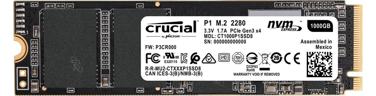 Dysk SSD Crucial M.2 PCIe Gen3 x4 NVMe P1 CT1000P1SSD8
