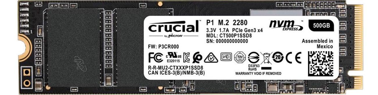 Dysk SSD Crucial M.2 PCIe Gen3 x4 NVMe P1 CT500P1SSD8