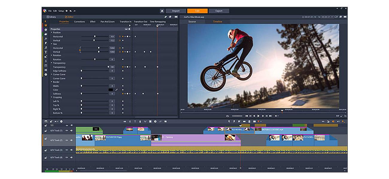 Pinnacle Studio 22 Standard Ulepszone opcje edycji na wielościeżkowej osi czasu