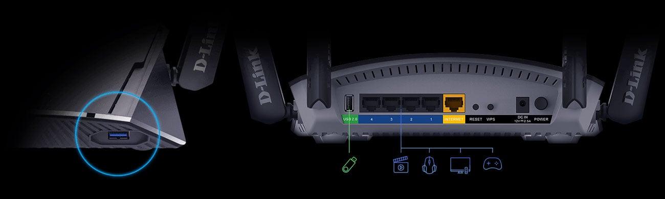 D-Link DIR‑2660 - Złącza USB, LAN