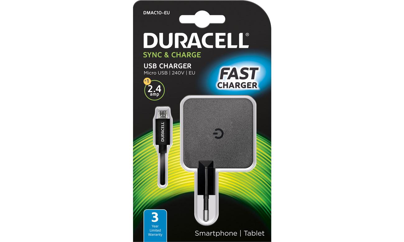 Duracell Ładowarka sieciowa USB 2,4A + kabel microUSB 1m DMAC10-EU