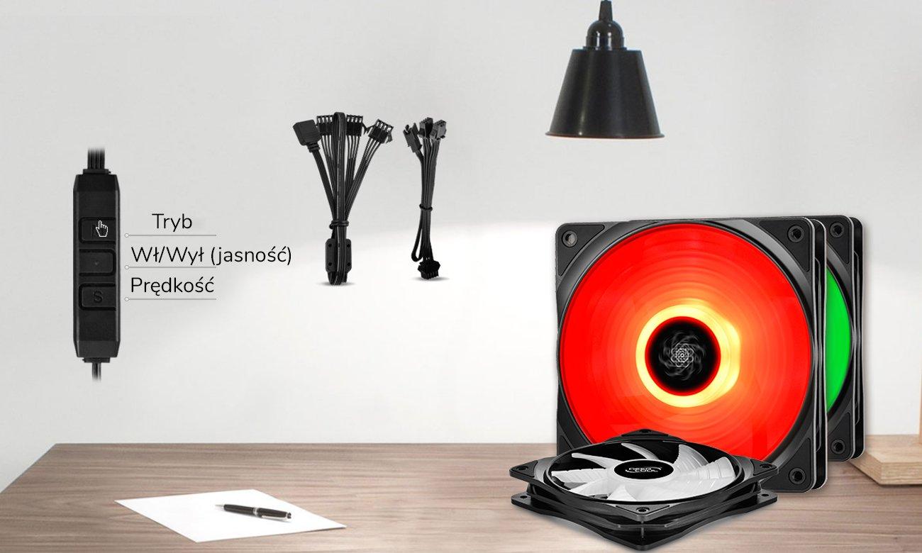 Zestaw Deepcool RF120 LED RGB Kontrola na dwa sposoby