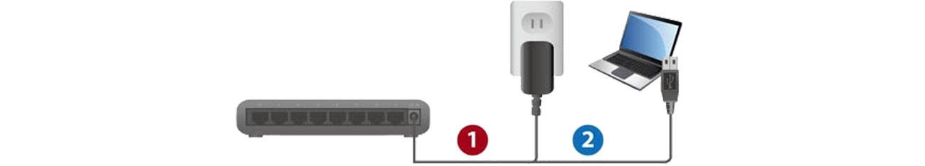 Switch Edimax 8p ES-5800G V3 Zasilanie USB