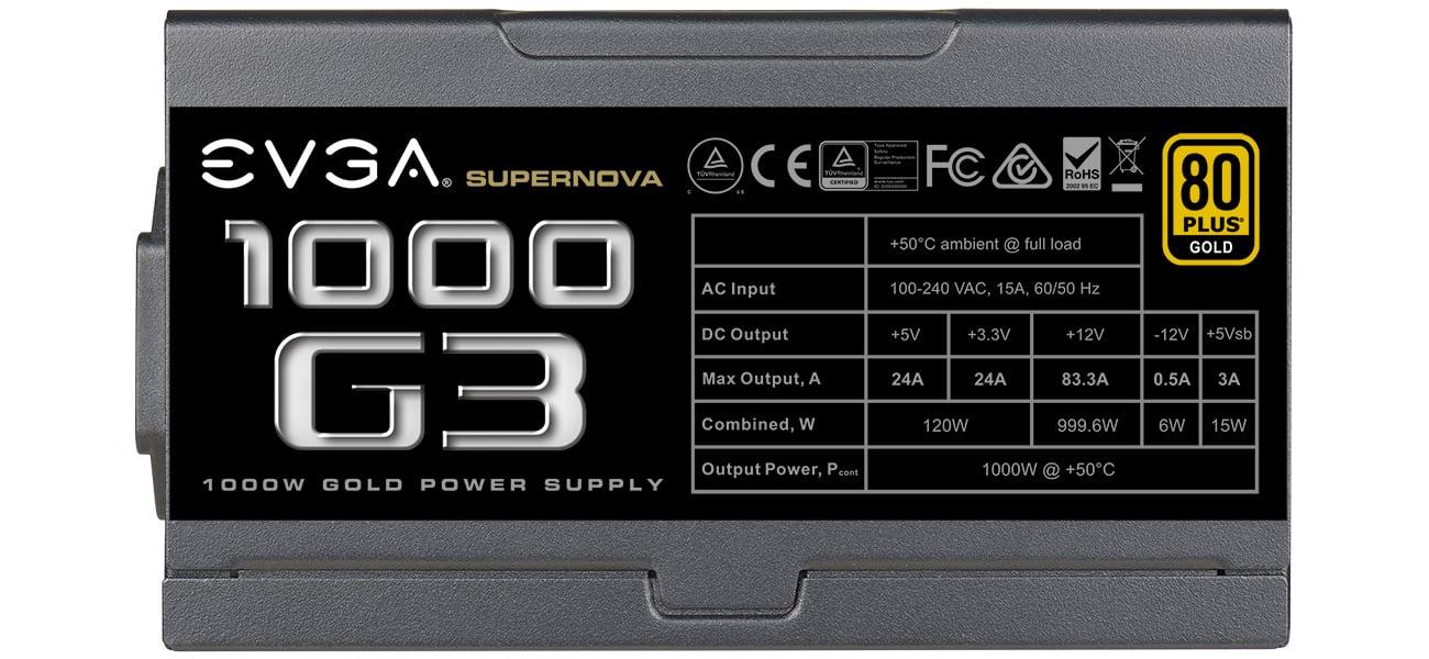 EVGA SuperNOVA 1000W G3 Certyfikat 80 PLUS Gold