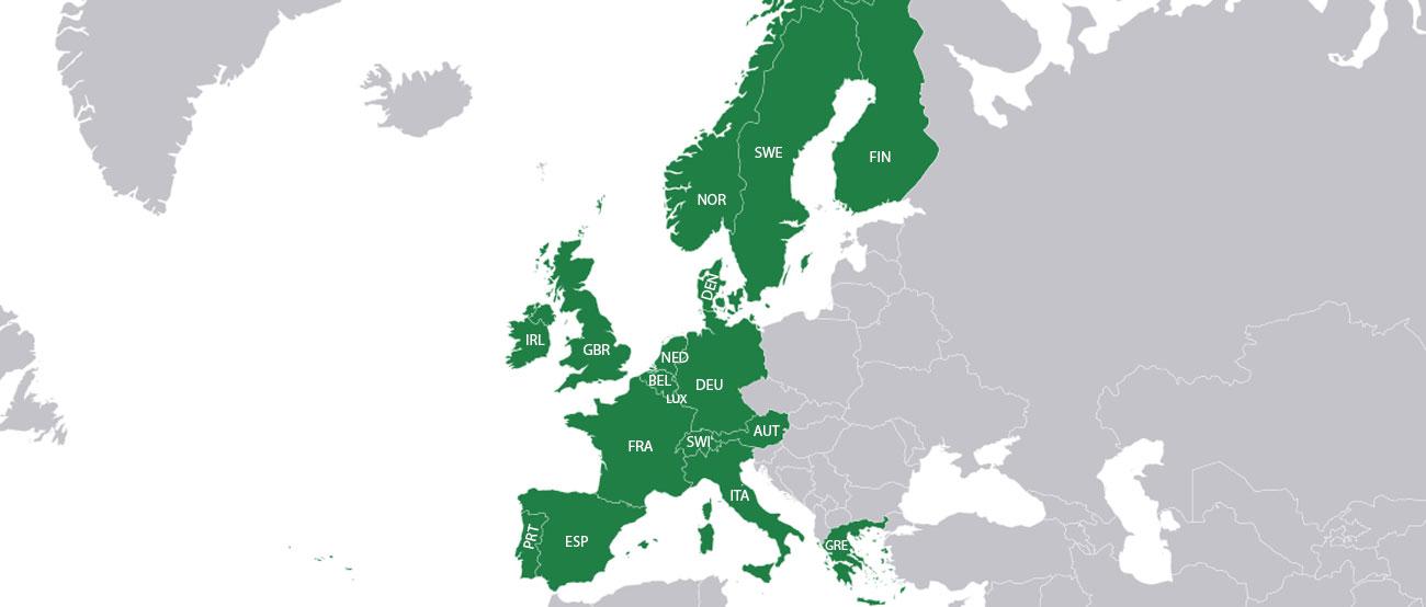 Szczegółowe mapy Europy Zachodniej