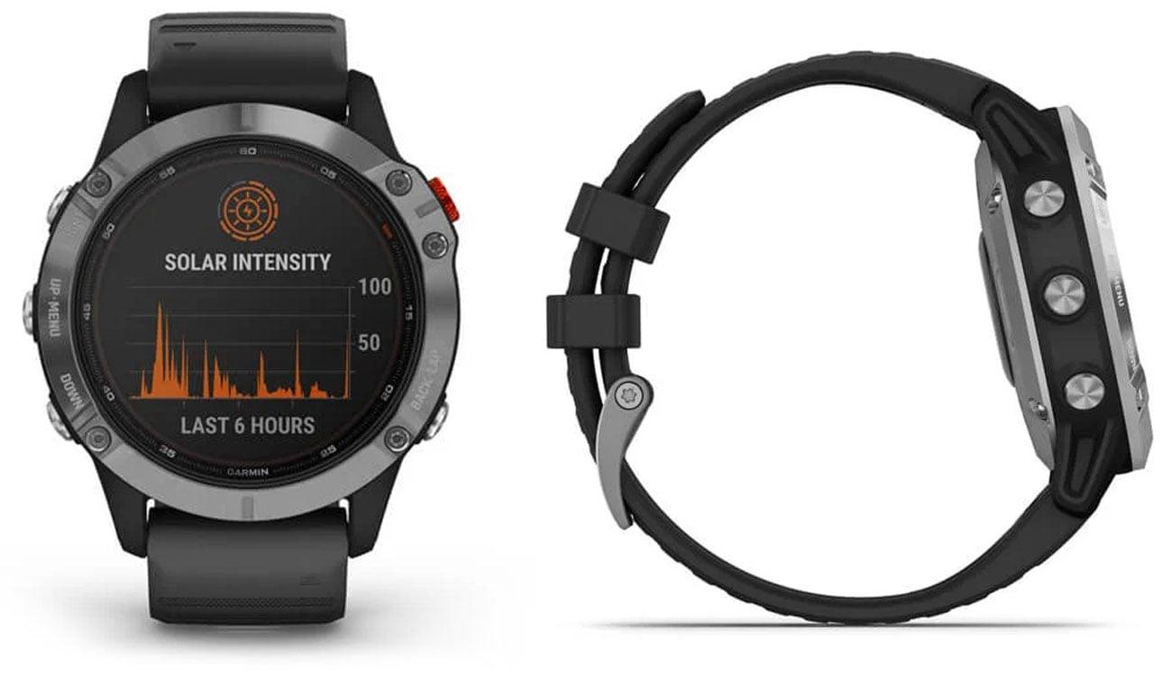 Zegarek sportowy Garmin Fenix 6S Solar Srebrno-czarny