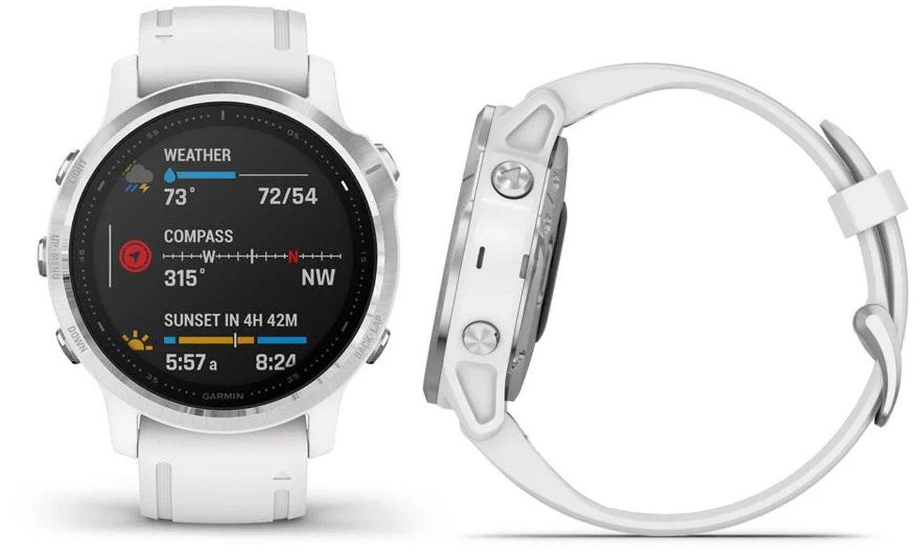 Multisportowy zegarek Garmin Fenix 6S srebrno-biały