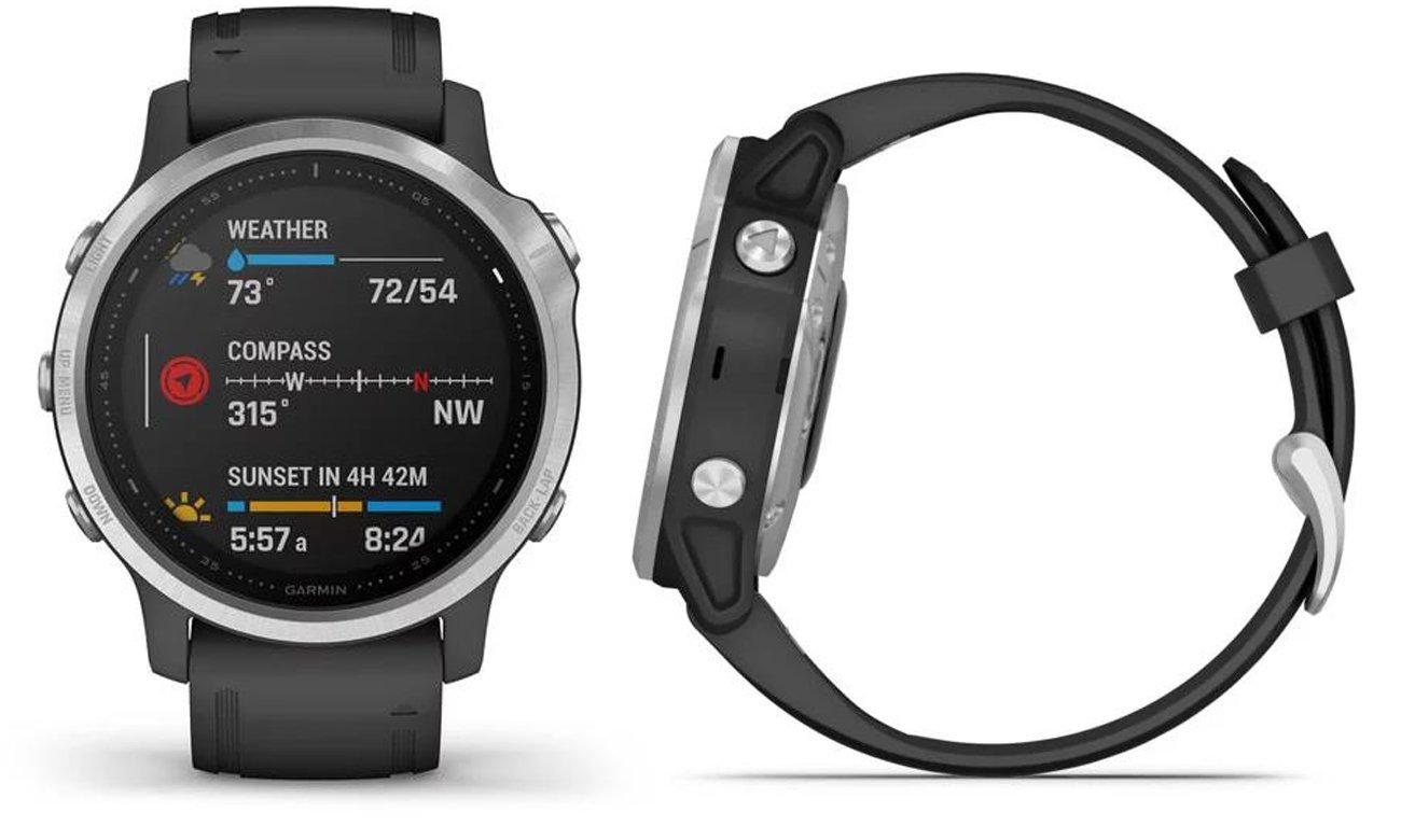 Multisportowy zegarek Garmin Fenix 6S srebrno-czarny