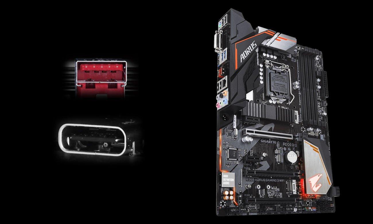 Gigabyte B360 AORUS GAMING 3 WIFI Złącza USB 3.1 Gen2