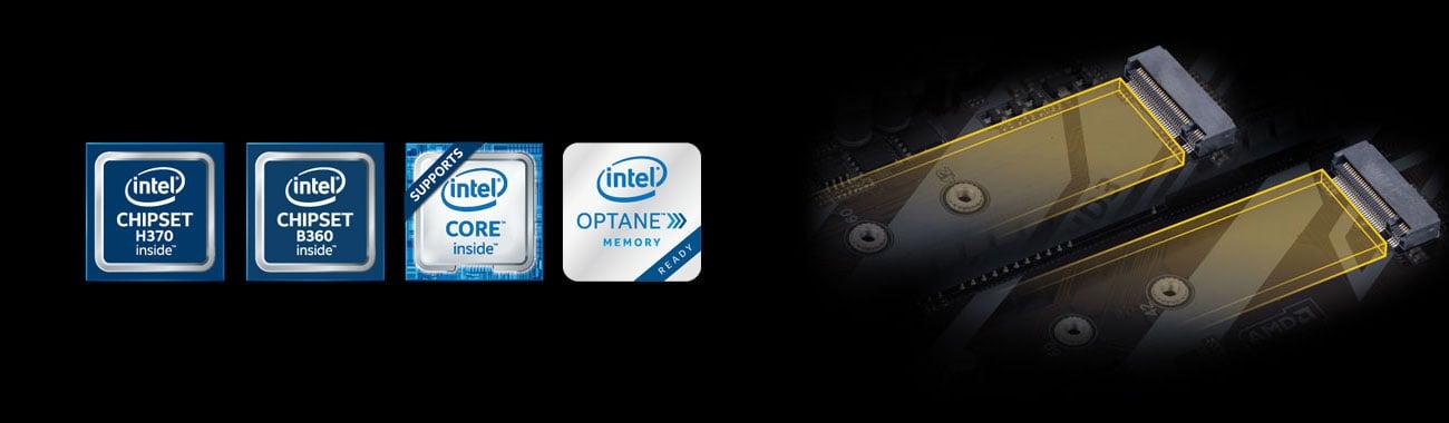 Gigabyte B360 HD3 Dwa złącza PCIe Gen3 M.2 Intel Optane